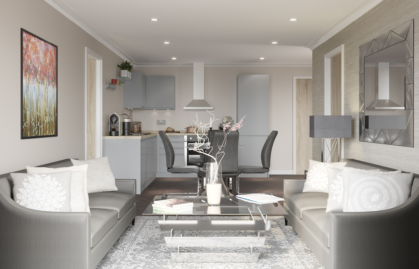 luxury waterside apartments nottingham kitchen/living room