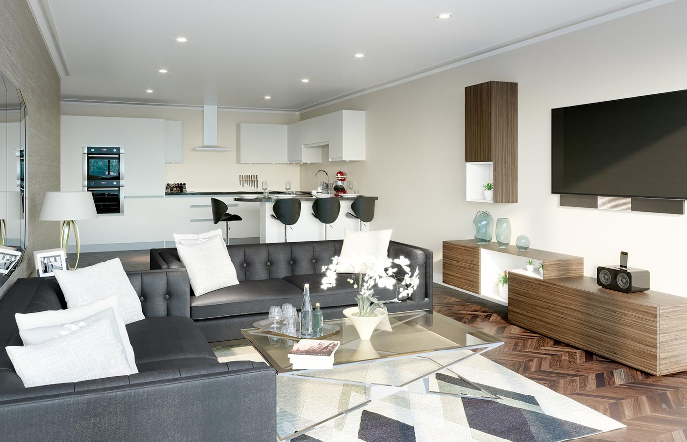 luxury apartment nottingham kitchen/living room