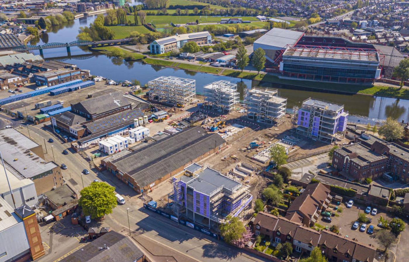 luxury apartment nottingham trent bridge quays aerial view