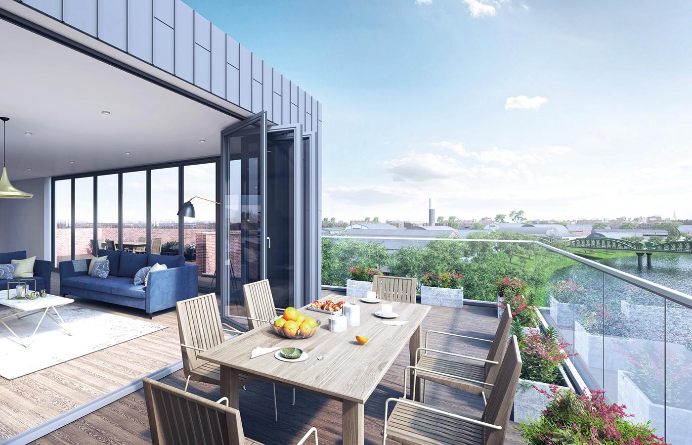 luxury apartment nottingham trent bridge quays balcony view cgi