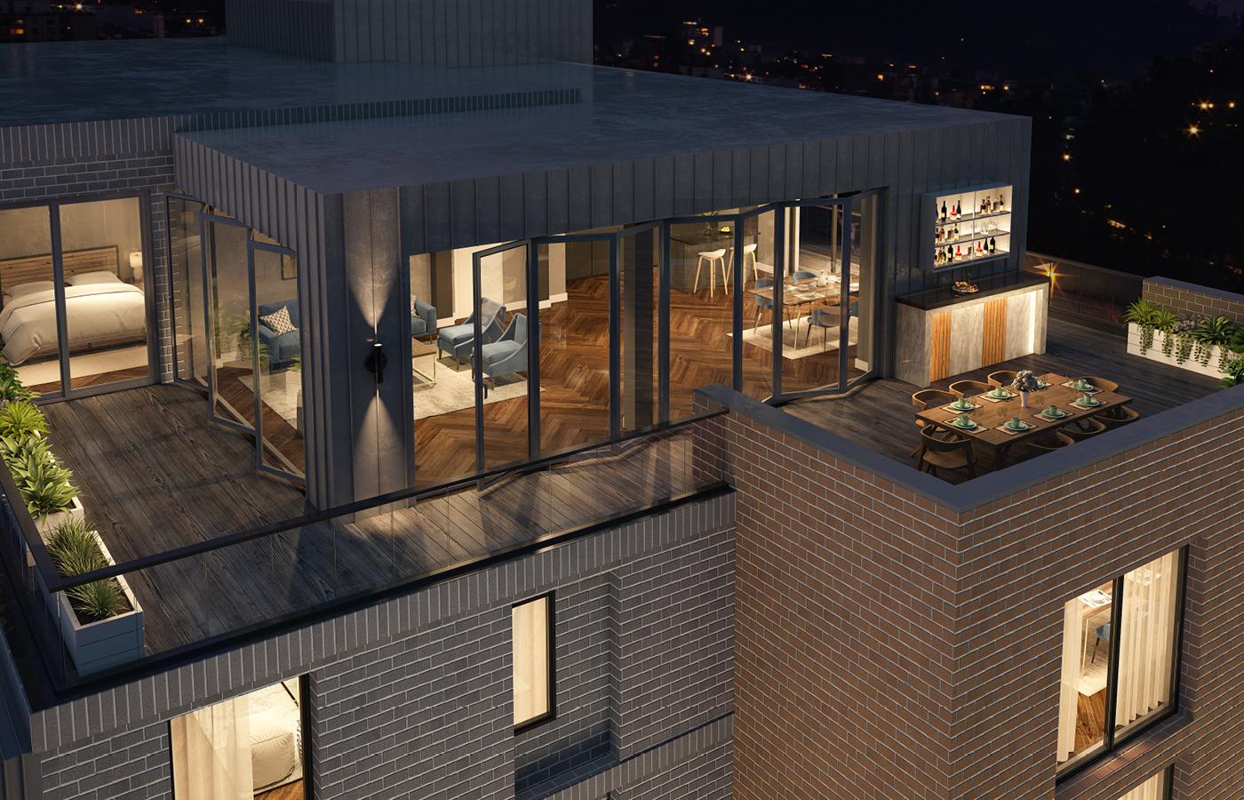 luxury apartment nottingham trent bridge quays balcony view night