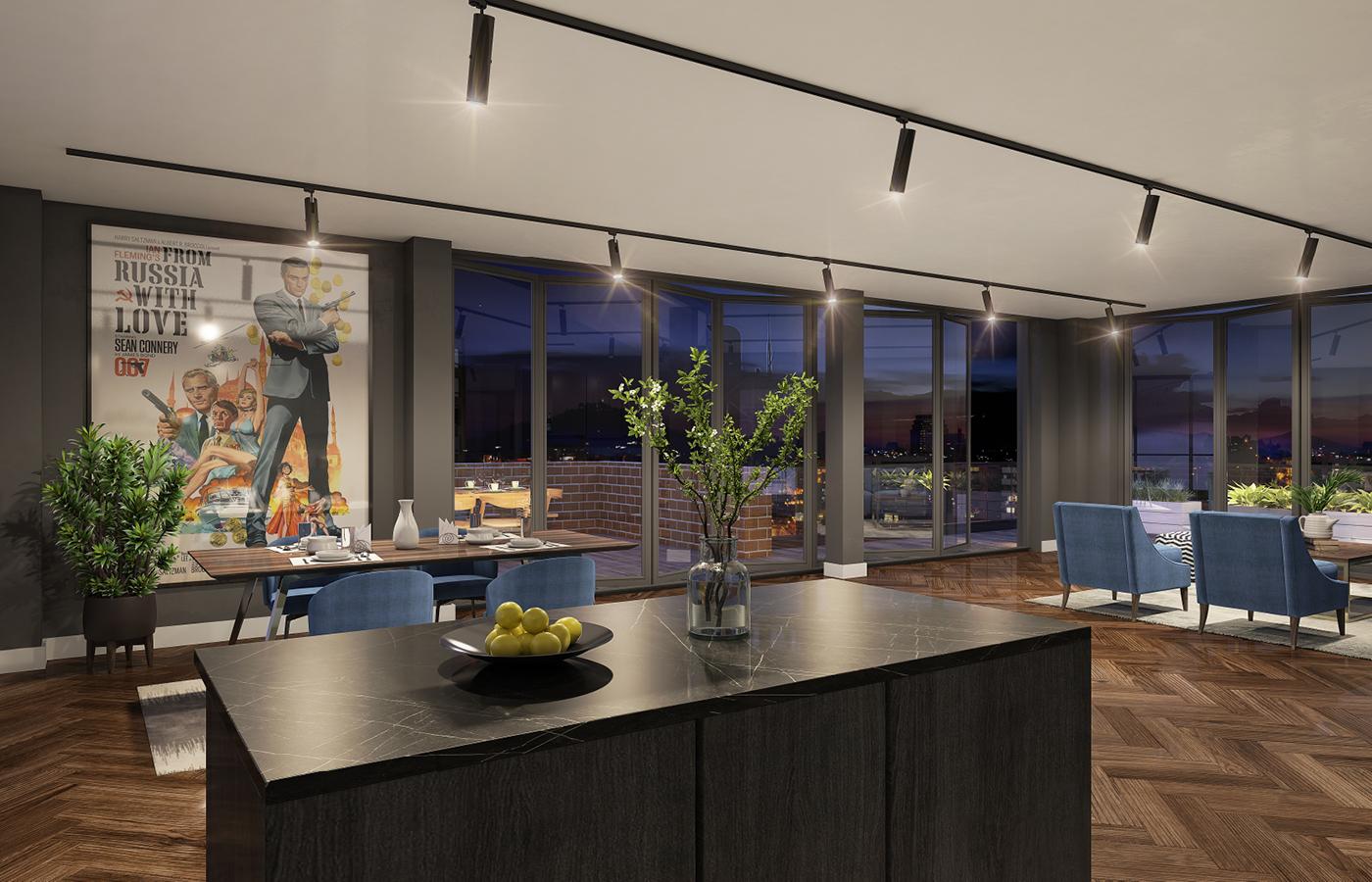 luxury apartment nottingham trent bridge quays interior cgi