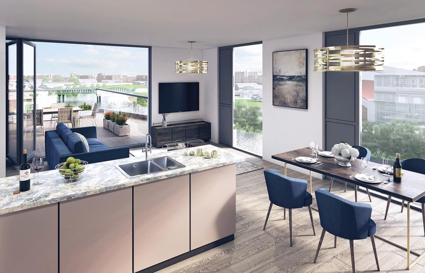 luxury apartment nottingham trent bridge quays view