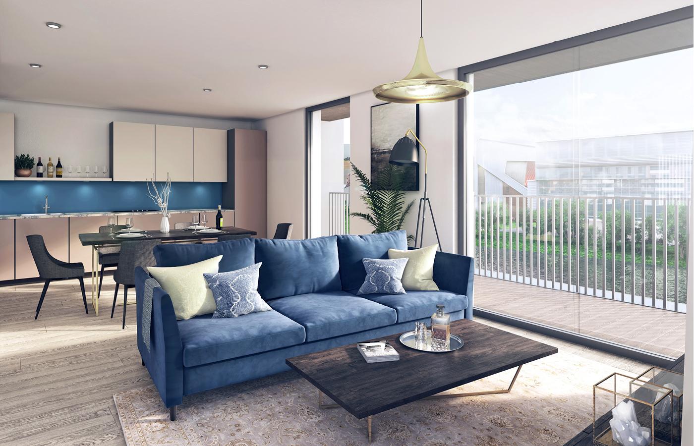luxury waterside apartments nottingham dining/living room