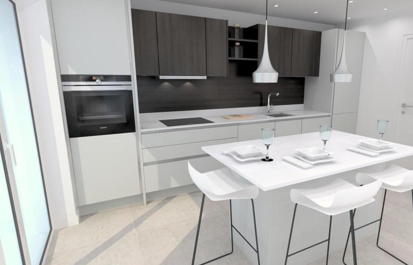luxury apartment nottingham trent bridge quays kitchen / diner cgi