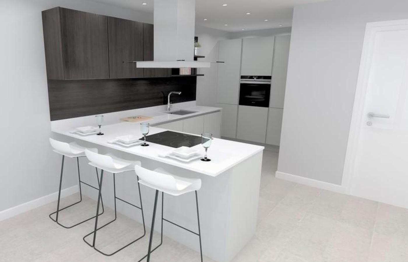 luxury apartment nottingham trent bridge quays kitchen cgi