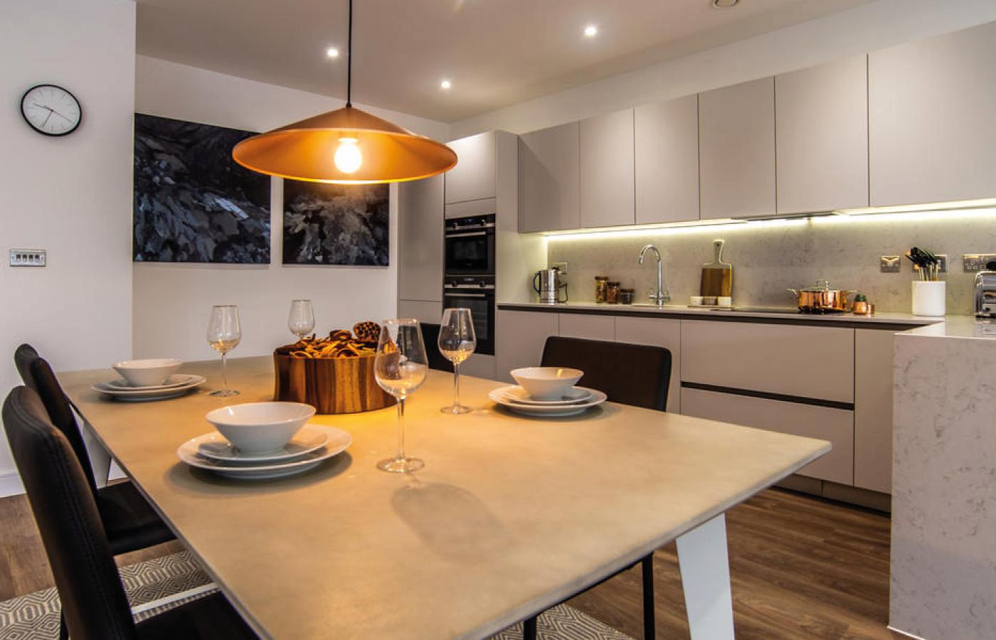 luxury waterside apartments nottingham kitchen diner