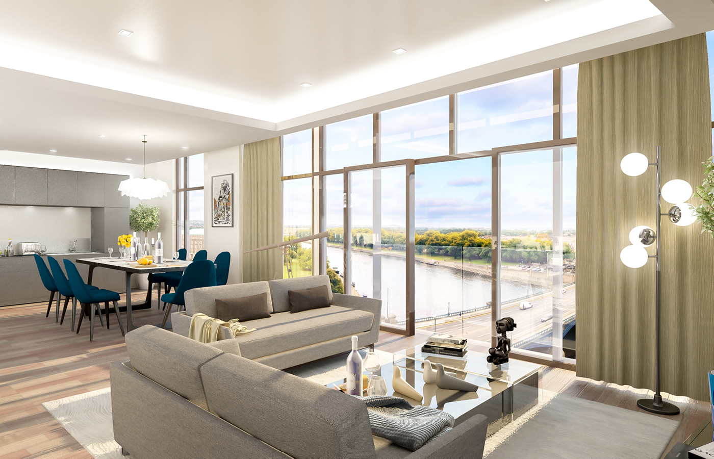 luxury waterside apartments nottingham living/dining room